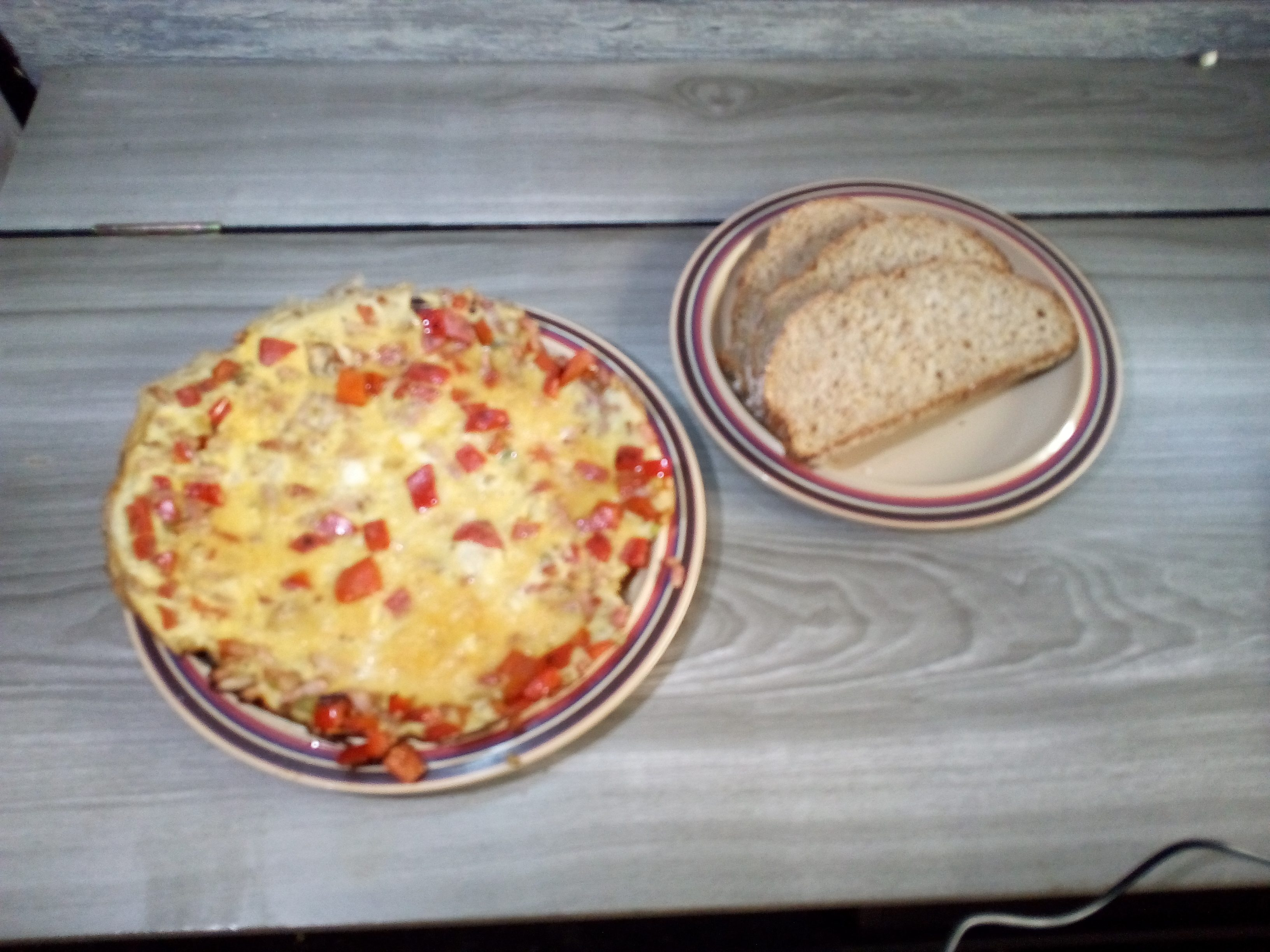 bell pepper bacon omelette