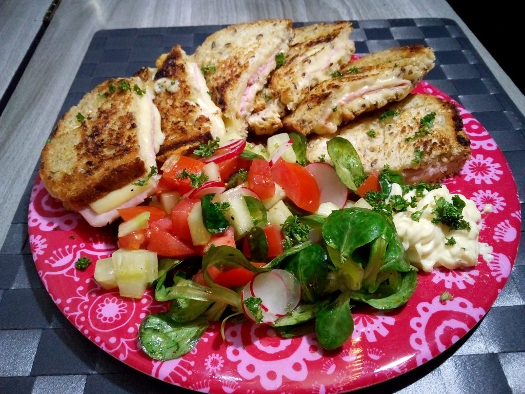 side salad grilled ham cheese