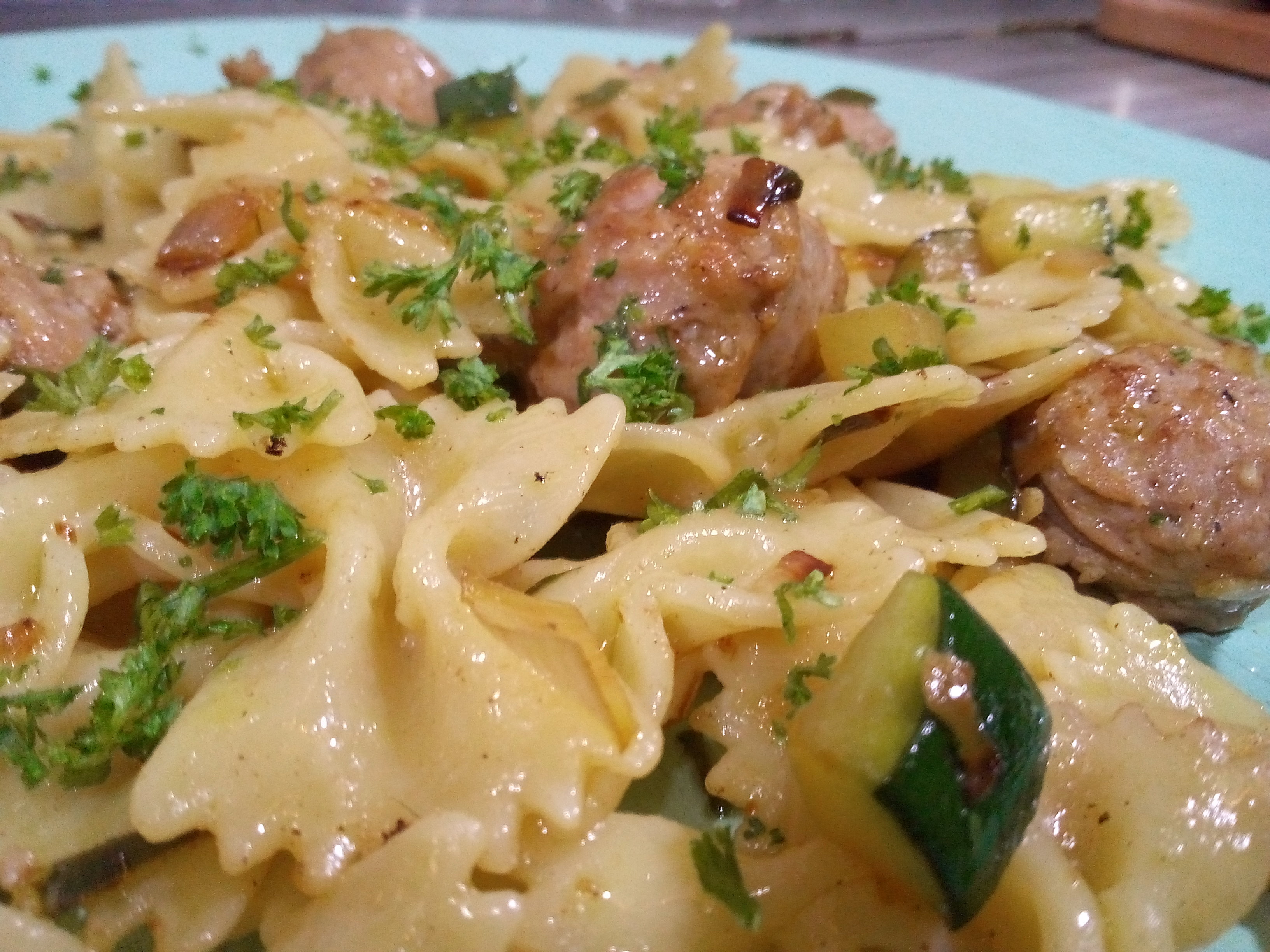 zucchini with sausage and pasta