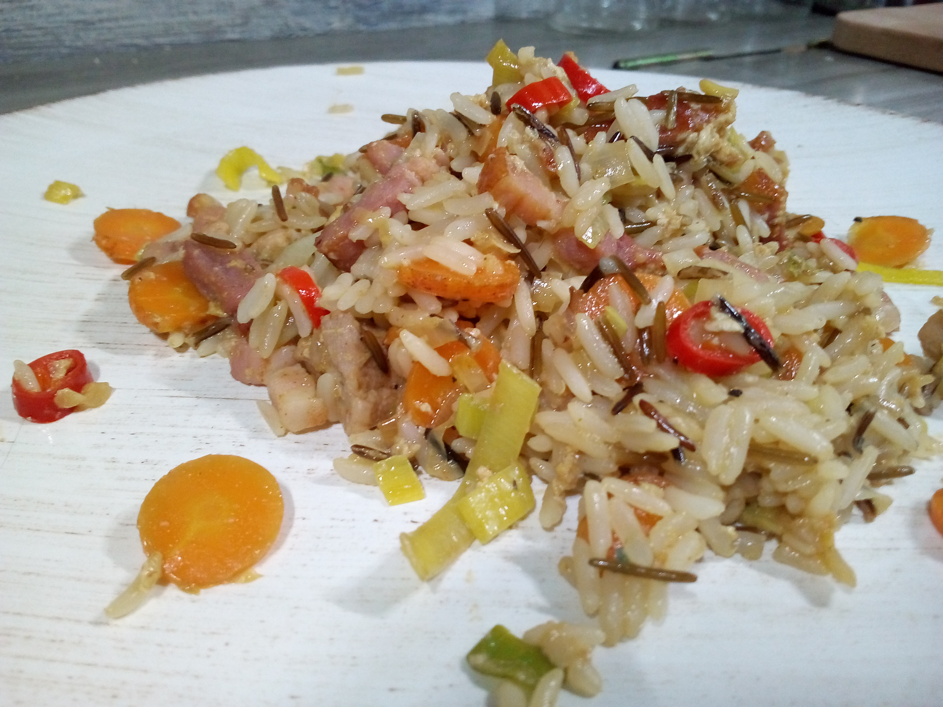 fried rice veggies pork