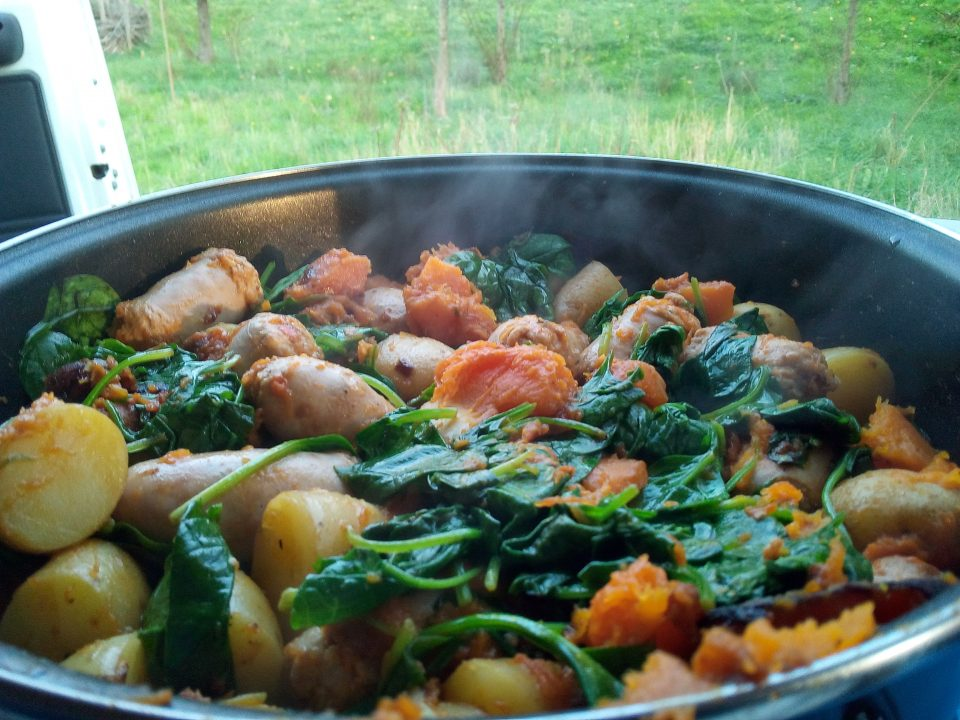 Butternut spinach potatos and sausages